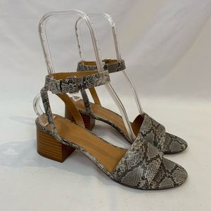 J Crew snakeskin print open toe heeled sandals